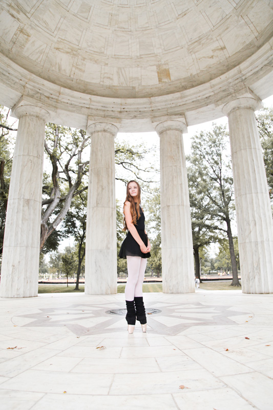 Senior Photography, Teen & Tween Photography, full body shot of ballerina on pavilion