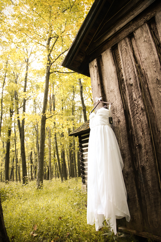 Wedding Photography and Couples Photography, bride's dress hanging outside