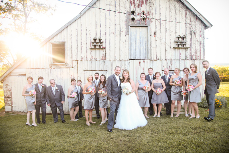 Wedding Photography and Couples Photography, full bridal party standing in front of old barn