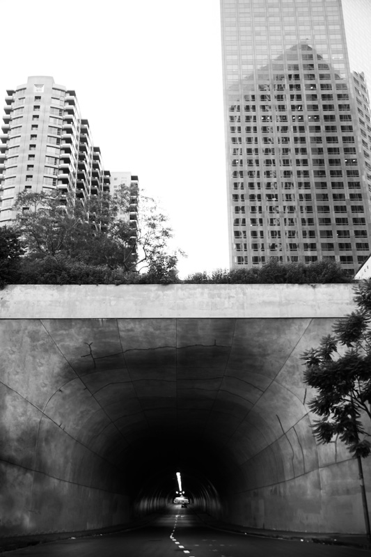 Nature Photography and Details Photography, black and white of tunnel in the middle of city