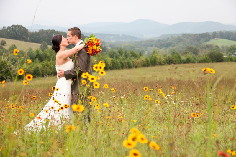 Wedding Photography and Couples Photography, couple in tall grass with flowers