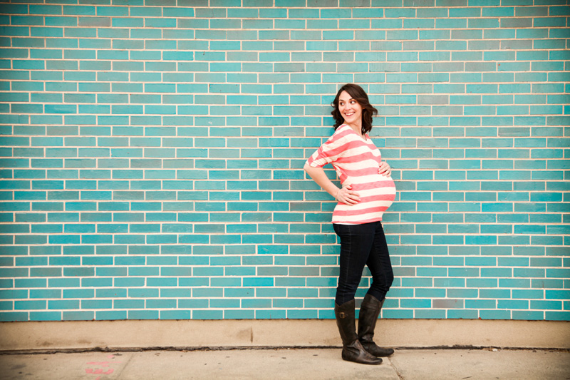 Maternity Photography and Motherhood Photography, Pregnant woman standing in front of blue tiled wall