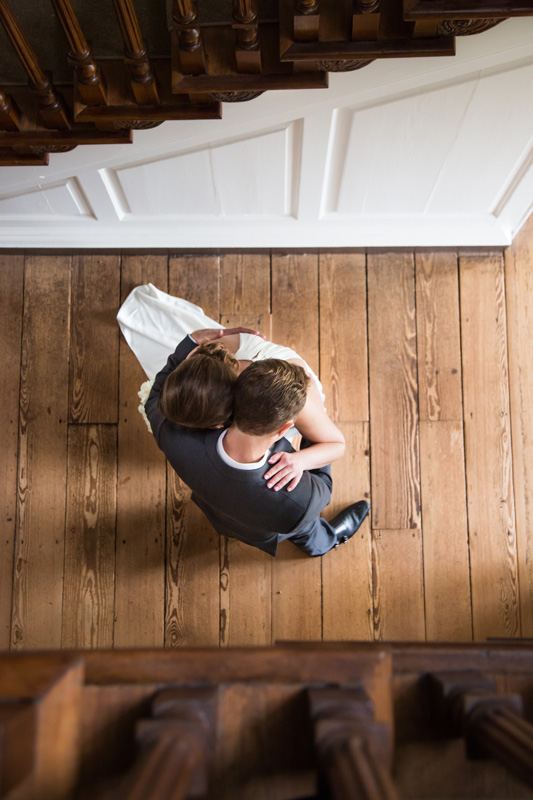 Wedding Photography and Couples Photography, looking down on couple dancing on wooden floor