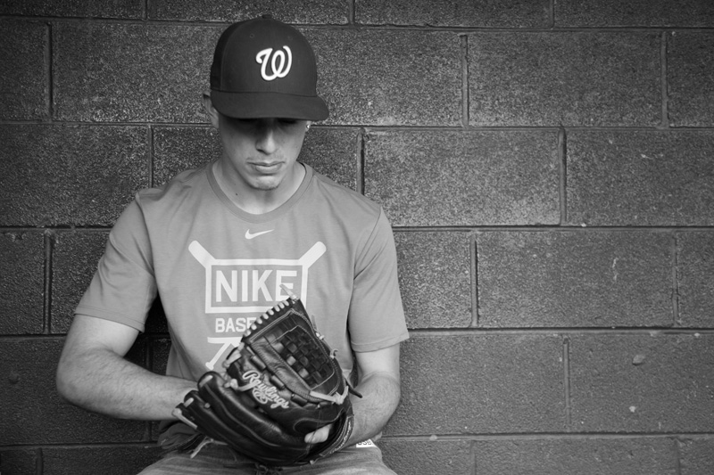 Senior Photography, Teen & Tween Photography, black and white baseball player image