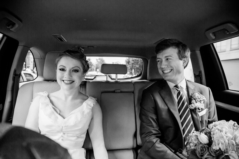 Wedding Photography and Couples Photography, black and white of bride and groom in car